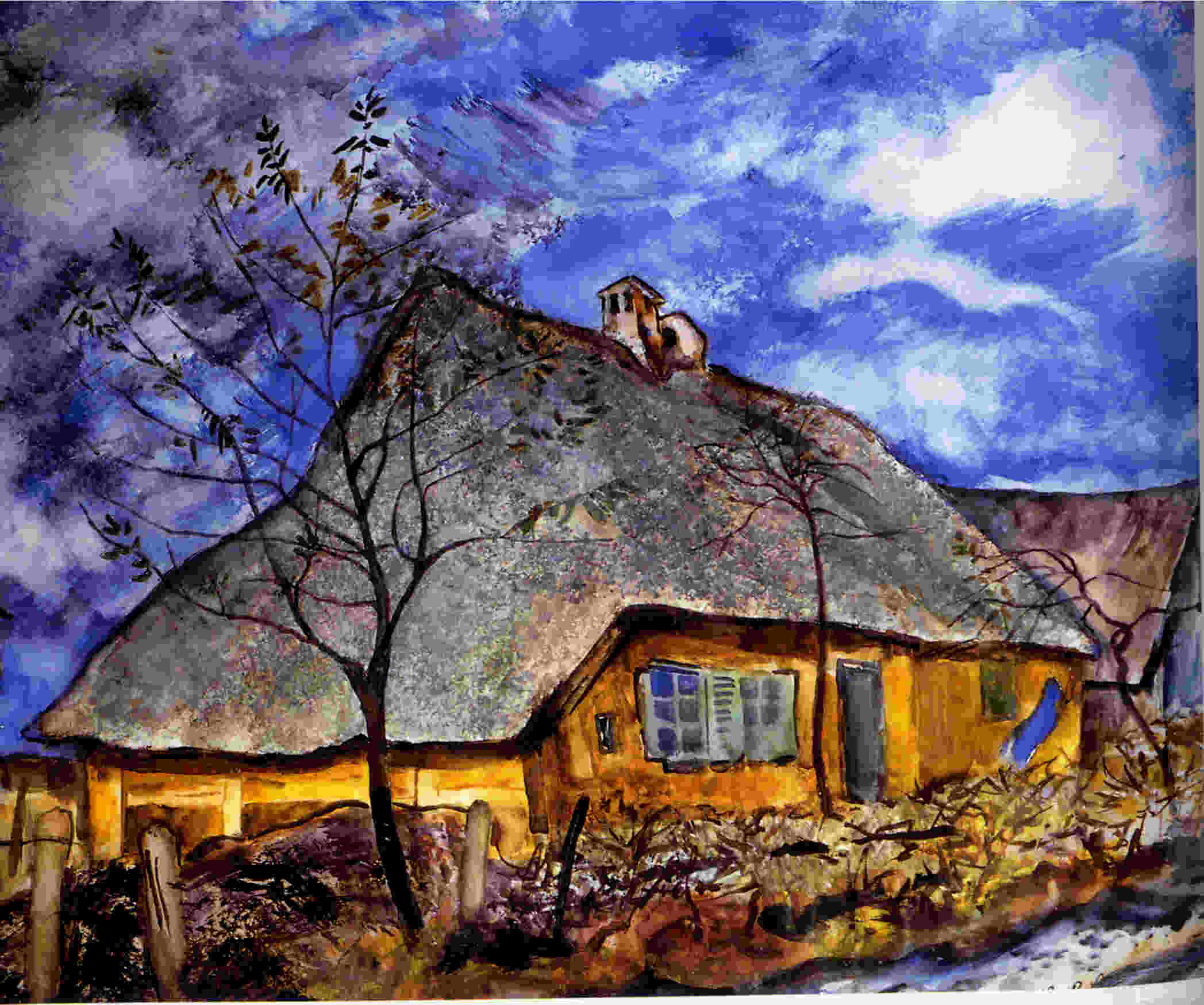 Fischerhaus in Rowe, Aquarell 1936